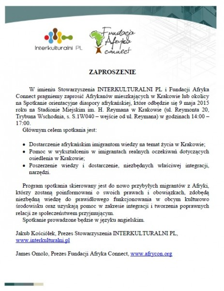 Orientation meeting for Africans living in Krakow – 9th May 2015